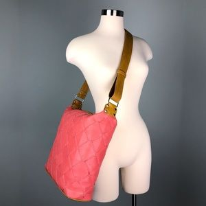 Elvis & Kresse Pink Leather Yellow Fire Hose Tote
